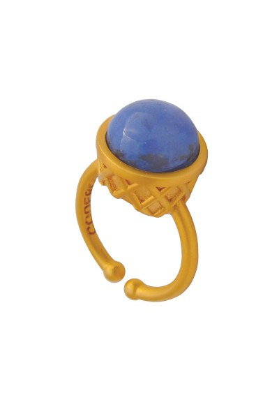 Large Gold Plated Ring - Blue Ice Cream
