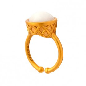 Large Gold Plated Ring - Cream Ice Cream