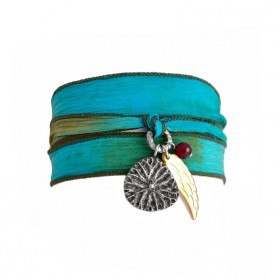 Yao wrap! Bracelet / Silk Necklace turquoise, silver & mother of pearl