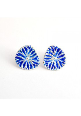 Yao silver earrings / Blue enamel