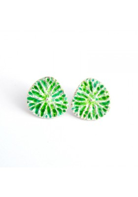 Yao silver earrings / green enamel