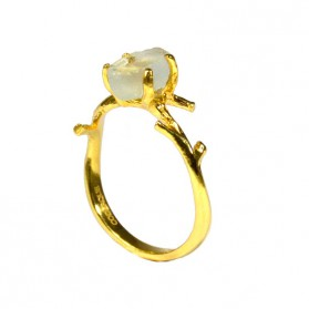 Gold Plated Bosque Ring with Green Quartz
