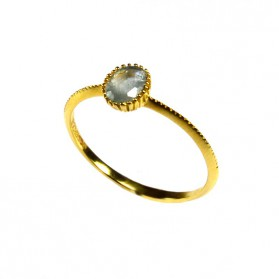 Green Sapphire Ring Yellow Gold plated Silver