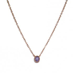 Blue Sapphire Pendant / Rose Gold Plated Silver
