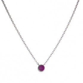 Pink Sapphire Pendant in Silver Rhodium