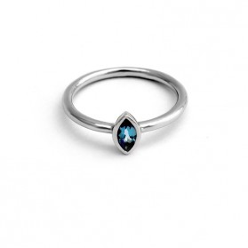 PALM & SEA silver ring and blue topaz