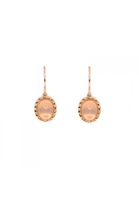 TWINE Rose quartz & rose goldplated silver earrings