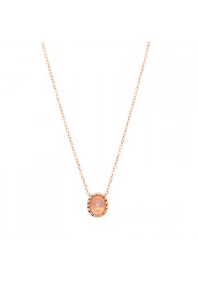 TWINE Rose quartz & rose goldplated silver necklace
