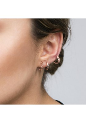 INNOCENT BLOOM Pendientes plata B.Oro Rosa 18k