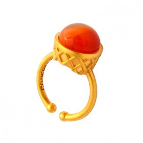Large Gold Plated Ring - Papaya Ice Cream