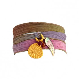 Yao wrap! Bracelet / Fairy Tale Silk Ribbon, Gold Plated charm & mother of pearl