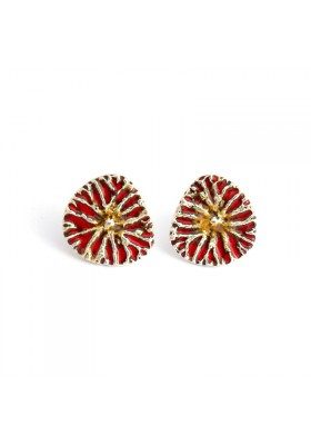 Yao silver earrings / red enamel