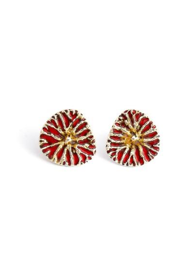Yao pendientes plata / esmalte rojo