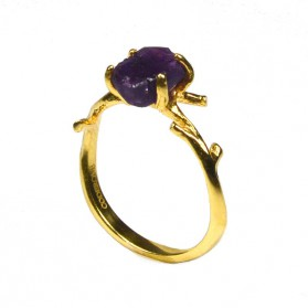 Gold Plated Bosque Ring with Amethyst