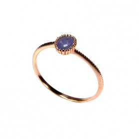 Blue Sapphire Ring Rose Gold plated Silver