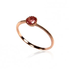 Pink Sapphire Ring Rose Gold plated Silver