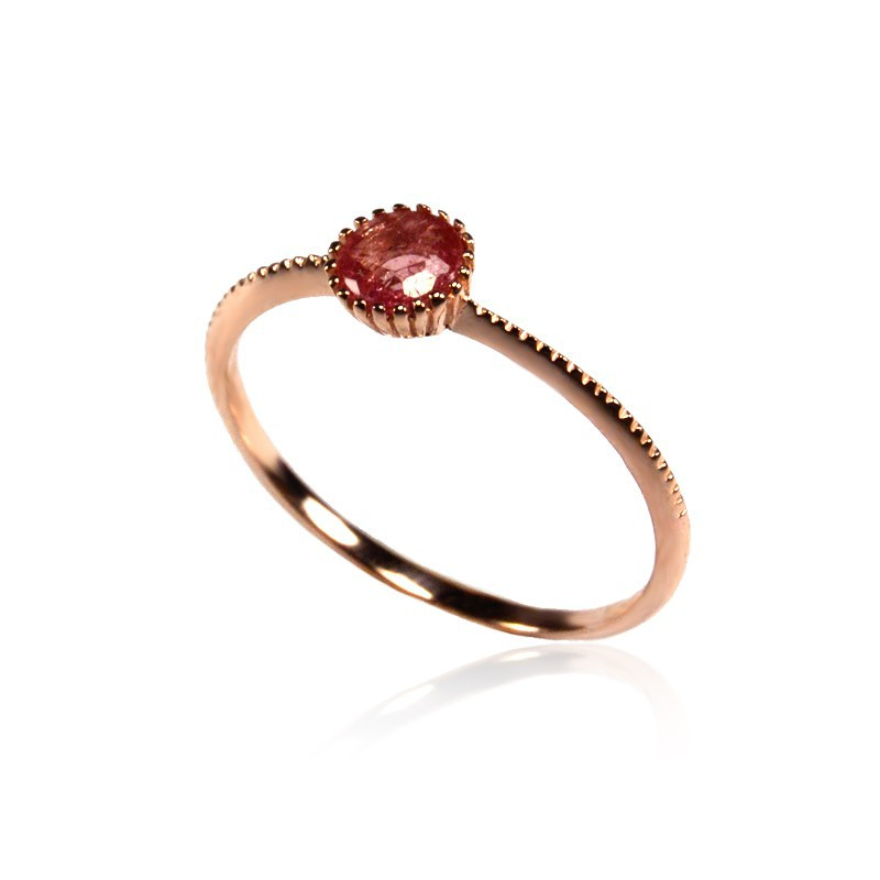 Pink Sapphire Ring Rose Gold plated Silver Coderque Jewels