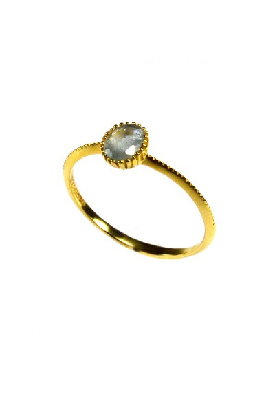 Blue Sapphire Ring Gold plated Silver