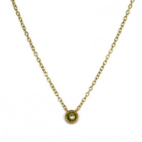 Green Sapphire Pendant / Yellow Gold Plated Silver