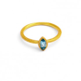 PALM & SEA 18 kt gold plated silver ring and blue topaz