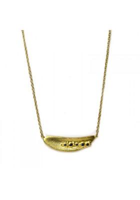 BANAU collar en plata con baño de oro y zafiros azules
