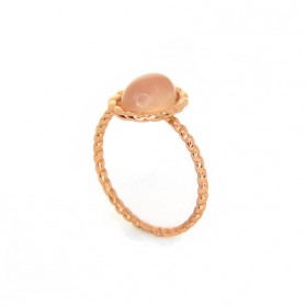 TWINE Rose quartz rose gold plated silver ring