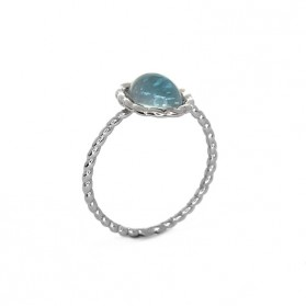 TWINE Blue topaz silver ring