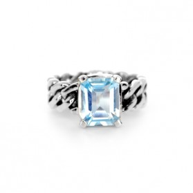 BARBADOS blue topaz and silver ring