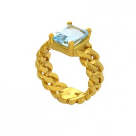BARBADOS blue topaz and gold plated silver ring
