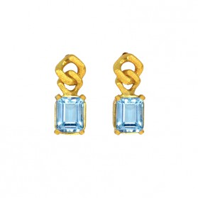 BARBADOS blue topaz and gold plated silver earrings