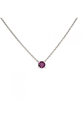 MARTINIQUE necklace. Silver and natural rhodolite garnet.