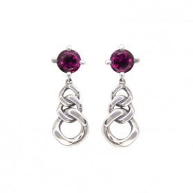 MARTINIQUE long earrings. Silver and natural rhodolite garnet