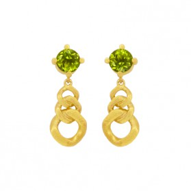 MARTINIQUE long earrings 18kt gold plated Silver and natural peridot