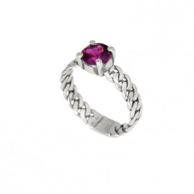 MARTINIQUE ring. Silver and natural rhodolite garnet.