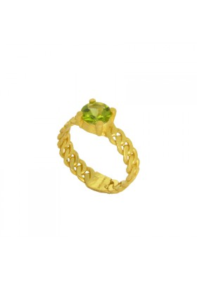 MARTINIQUE ring. 18kt Gold plated Silver and natural peridot