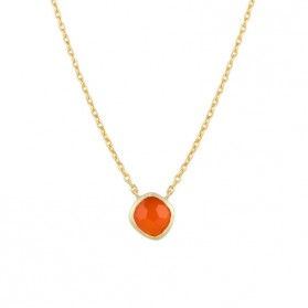 AYALA necklace. 18kt gold plated silver & orange agate