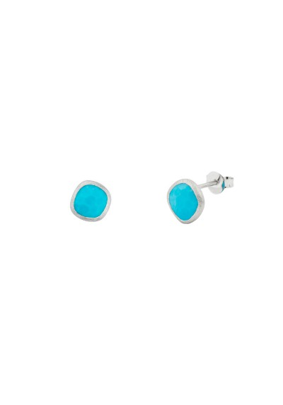 AYALA earrings. Silver & blue howlite