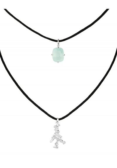 LANKA necklace. Silver & blue chalcedony