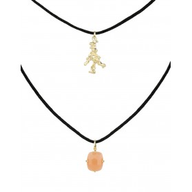 LANKA necklace. Gold plated silver & orange moonstone