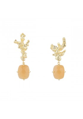 LANKA earrings. Gold plated silver & orange moonstone