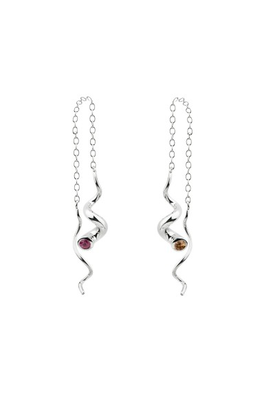 TORQUE earrings. Silver & color sapphires