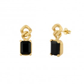 BARBADOS onyx gold plated 18kt silver earrings