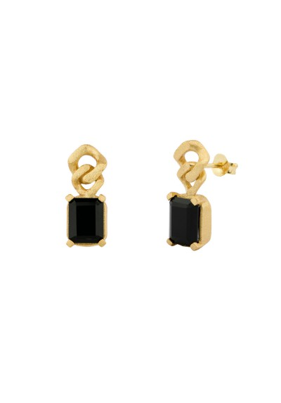 Earrings Barbados Onyx Gold Plated 18kt Silver Pendiientes Plata Topacio Azul