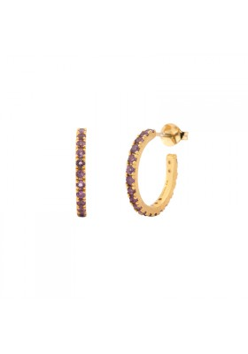 UPPSSS Hoops earrings gold plated and amethyst
