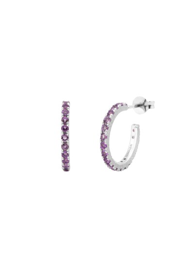 UPPSSS Hoops silver earrings and amethyst